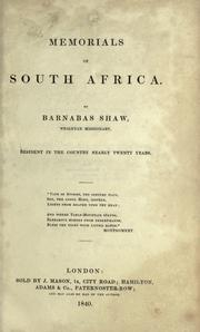 Memorials of South Africa by Barnabas Shaw