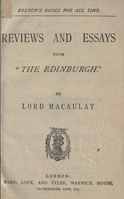 Cover of: Reviews and essays from The Edinburgh
