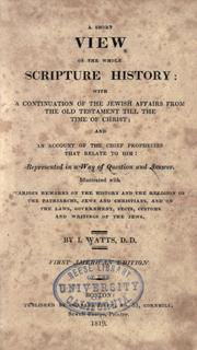 Cover of: Ashort view of the whole Scripture history | Isaac Watts