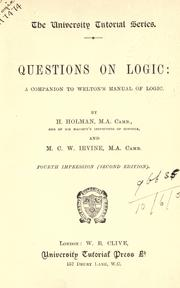 Cover of: Questions on logic