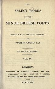 Cover of: The select works of the minor British poets |