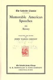 Cover of: Memorable American speeches