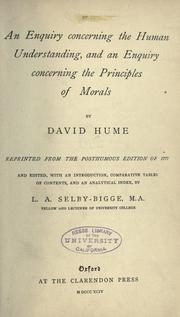 Cover of: An enquiry concerning the human understanding | David Hume