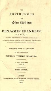 Cover of: The posthumous and other writings of Benjamin Franklin ..