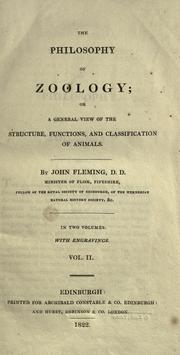 Cover of: The philosophy of zoology: or, A general view of the structure, functions, and classification of animals.