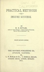Cover of: Practical methods to insure success