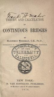 Cover of: On the Theory and Calculation of Continuous Bridges