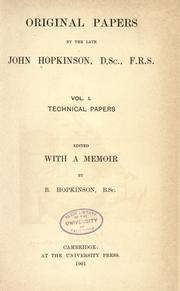 Cover of: Original papers by the late John Hopkinson