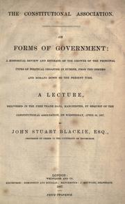 Cover of: The Constitutional Association on forms of government