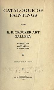 Cover of: Catalogue of paintings in the E. B. Crocker Art Gallery