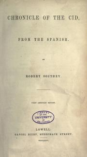 Chronicle of the Cid by Robert Southey