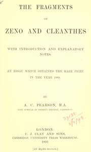 Cover of: The fragments of Zeno and Cleanthes | Zeno the Stoic.