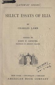 Cover of: ... Select essays of Elia