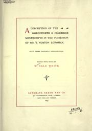 Cover of: A description of the Wordsworth & Coleridge manuscripts in the possession of Mr. T. Norton Longman