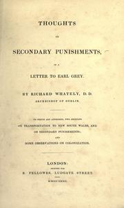 Cover of: Thoughts on secondary punishments