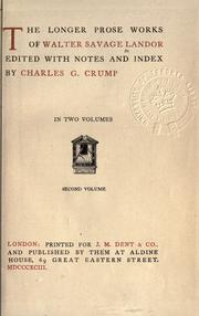 Cover of: Longer prose works