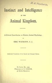 Cover of: Instinct and intelligence in the animal kingdom