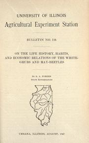 Cover of: On the life history, habits, and economic relations of the white-grubs and May-beetles