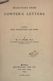 Cover of: Selections from letters: Edited, with introd. and notes
