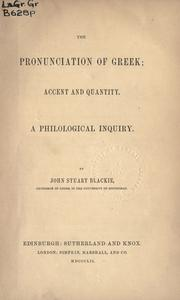 Cover of: The pronunciation of Greek: accent and quantity
