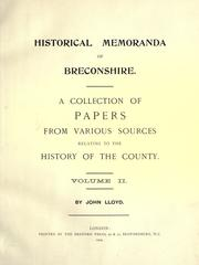 Cover of: Historical memoranda of Breconshire