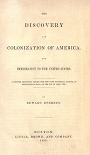 Cover of: The discovery and colonization of America, and immigration to the United States