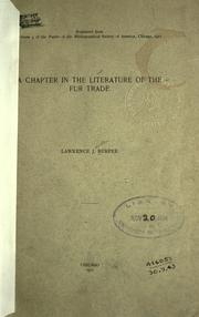 Cover of: A chapter in the literature of the fur trade
