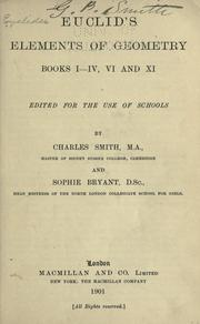 Cover of: Euclid's elements of geometry by edited for the use of schools by Charles Smith and Sophie Bryant.
