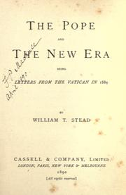 Cover of: The pope and the new era: being letters from the Vatican in 1889