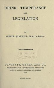 Cover of: Drink, temperance and legislation