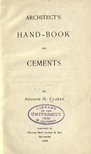 Cover of: Architect's hand-book on cements