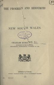 Cover of: The progress and resources of New South Wales