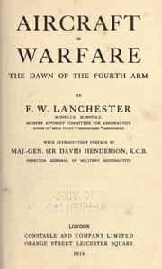 Cover of: Aircraft in warfare, the dawn of the fourth arm