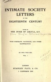 Cover of: Intimate society letters of the eighteenth century