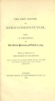 Cover of: The first edition of Keble's Christian year