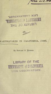 Cover of: Earthquakes in California, (1888)