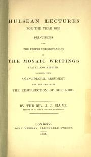 Cover of: Principles for the proper understanding of the Mosaic writings by
