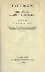 Cover of: The speech against Leocrates