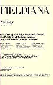 Cover of: Diet, feeding behavior, growth, and numbers of a population of Cerberus rynchops (Serpentes: Homalopsinae) in Malaysia