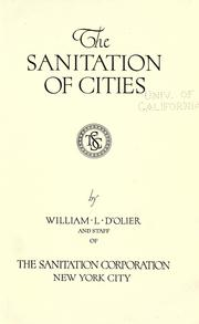 Cover of: The sanitation of cities