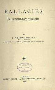 Cover of: Fallacies in present-day thought