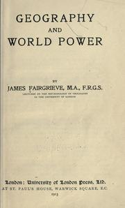 Cover of: Geography and world power