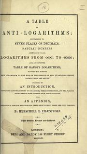 Cover of: A table of anti-logarithms