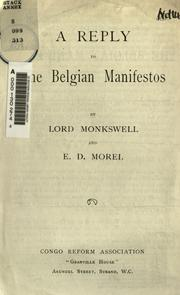 Cover of: A reply to the Belgian manifestos
