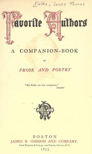 Cover of: Favorite authors: a companion-book of prose and poetry ...