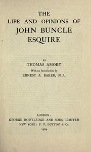 Cover of: The life and opinions of John Buncle, esquire
