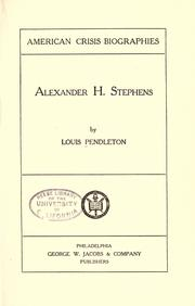 Cover of: Alexander H. Stephens