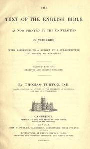 Cover of: The text of the English Bible, as now printed by the universities