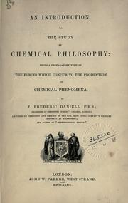 Cover of: An introduction to the study of chemical philosophy
