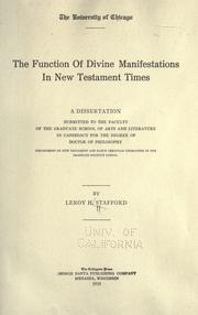 Cover of: The function of divine manifestations in New Testament times